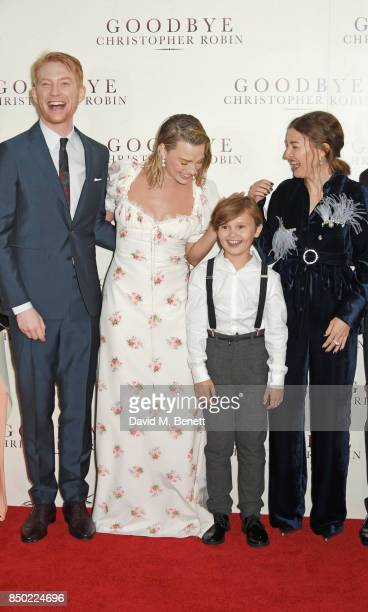 Domhnall Gleeson Margot Robbie Will Tilston and Kelly Macdonald attend the World Premiere of 'Goodbye Christopher Robin' at Odeon Leicester Square on...