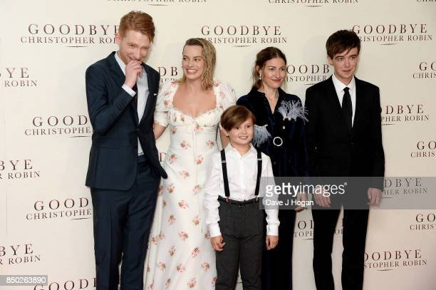 Domhnall Gleeson Margot Robbie Will Tilston Kelly Macdonald and Alex Lawther attend the 'Goodbye Christopher Robin' World Premiere held at Odeon...