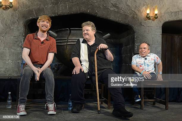 Domhnall Gleeson Robbie Coltrane and Warwick Davis are interviewed at The Wizarding World Of Harry Potter Diagon Alley at Universal Orlando on June...