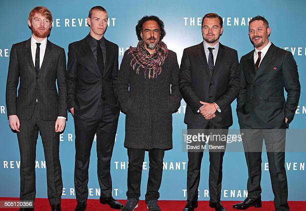"Domhnall Gleeson, Will Poulter, Alejandro G. Inarritu, Leonardo DiCaprio and Tom Hardy attend the UK Premiere of ""The Revenant"" at the Empire..."
