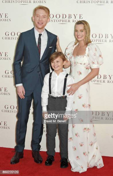Domhnall Gleeson Will Tilston and Margot Robbie attend the World Premiere of Goodbye Christopher Robin at Odeon Leicester Square on September 20 2017...