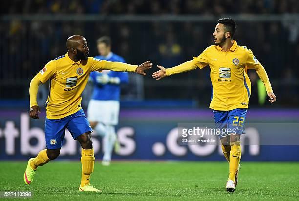 Domi Kumbela and Salim Khelifi of Braunschweig celebrate during the second Bundesliga match between Eintracht Braunschweig and SC Freiburg on April...
