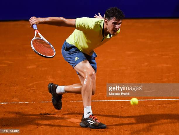 Dominc Thiem of Austria takes a backhand shot during a quarter final match between Dominic Thiem of Austria and Guido Pella of Argentina as part of...
