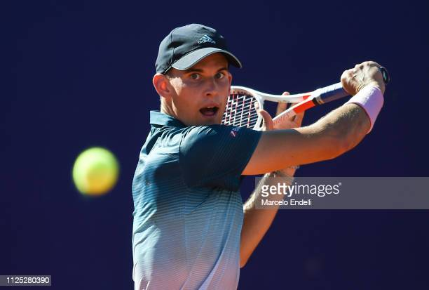 Dominc Thiem of Austria takes a backhand shot during a semifinal match against Diego Schwartzman of Argentina as part of Argentina Open ATP 250 2019...