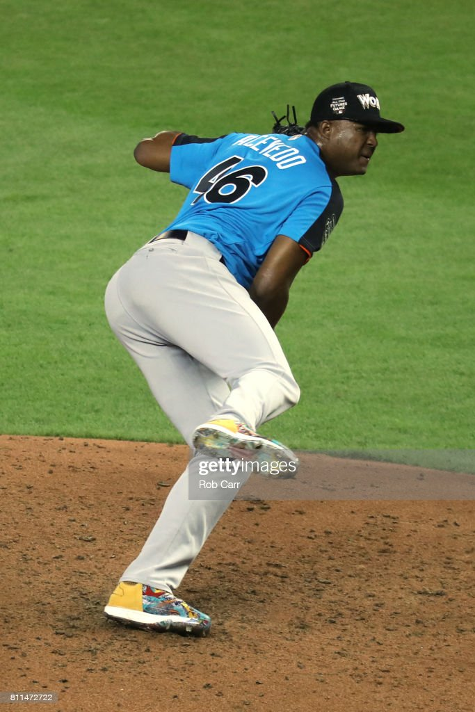 Domingo Acevedo #46 of the New York Yankees and the World Team delivers the pitch against the U.S. Team during the SiriusXM All-Star Futures Game at Marlins Park on July 9, 2017 in Miami, Florida.
