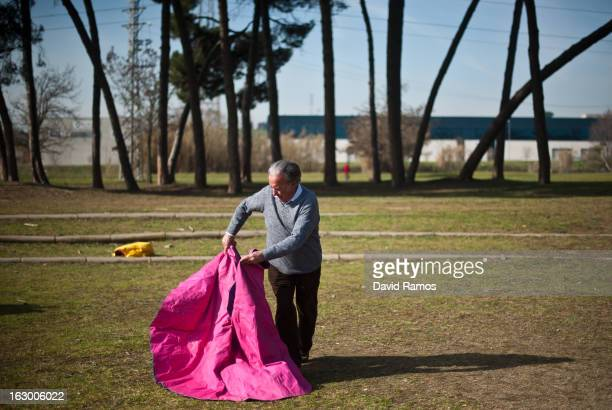 Domingo Cardona practices bullfighting in a city park in Santa Perpetua de la Mogoda on March 3 2013 in Barcelona Spain On February 12 the Spanish...