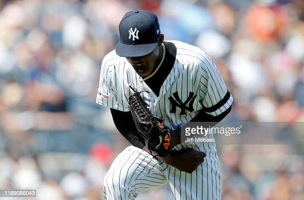 Domingo German of the New York Yankees in action against the Boston Red Sox at Yankee Stadium on August 03 2019 in New York City The Yankees defeated...