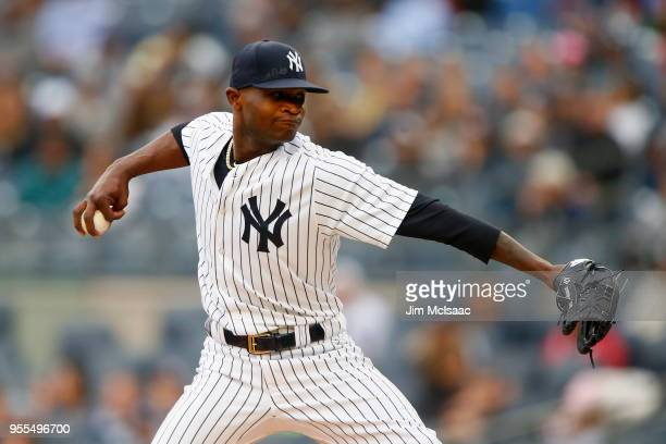 Domingo German of the New York Yankees in action against the Cleveland Indians at Yankee Stadium on May 6 2018 in the Bronx borough of New York City...
