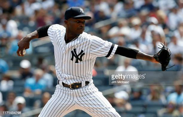 Domingo German of the New York Yankees in action against the Oakland Athletics at Yankee Stadium on August 31 2019 in New York City The Yankees...