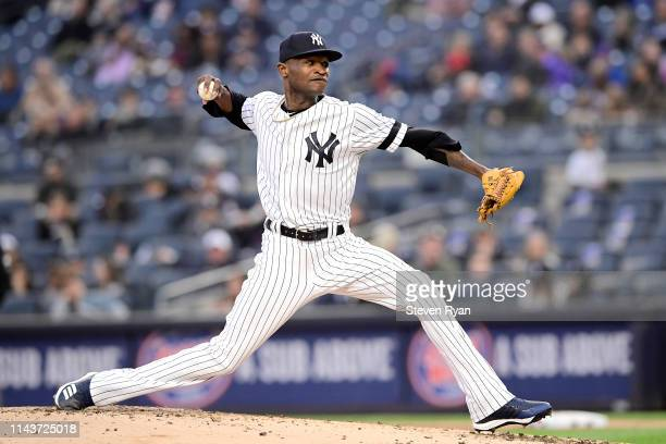 Domingo German of the New York Yankees pitches against the Kansas City Royals at Yankee Stadium on April 18 2019 in New York City The Royals defeated...