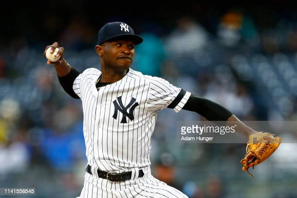 Domingo German of the New York Yankees pitches against the Minnesota Twins during the third inning at Yankee Stadium on May 5 2019 in the Bronx...