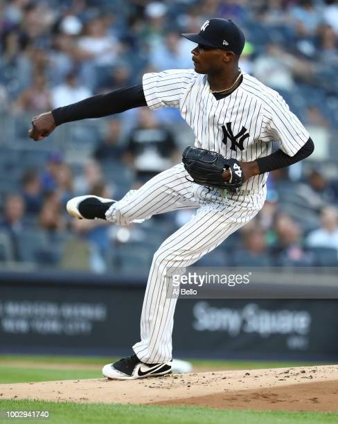 Domingo German of the New York Yankees pitches against the New York Mets during their game at Yankee Stadium on July 20 2018 in New York City