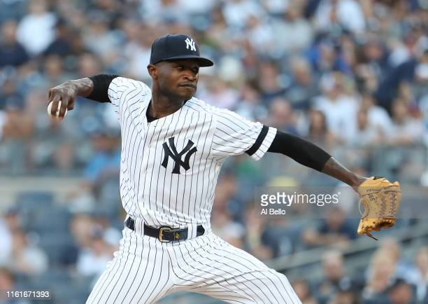 Domingo German of the New York Yankees pitches against the Toronto Blue Jays during their game at Yankee Stadium on July 12 2019 in New York City