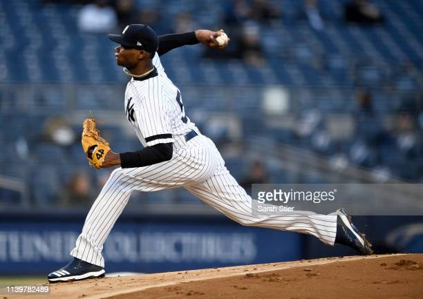 Domingo German of the New York Yankees pitches during the first inning of the game against the Detroit Tigers at Yankee Stadium on April 01 2019 in...