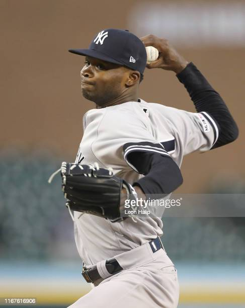 Domingo German of the New York Yankees pitches during the seventh inning of the second game of the doubleheader against the Detroit Tigers at...