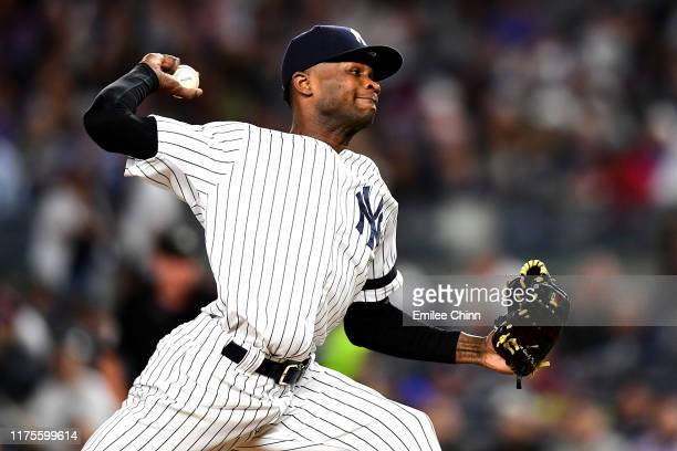 Domingo German of the New York Yankees pitches during the third inning of their game against the Los Angeles Angels at Yankee Stadium on September 18...