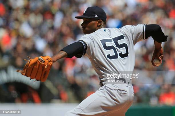 Domingo German of the New York Yankees pitches during the third inning against the San Francisco Giants at Oracle Park on April 28 2019 in San...