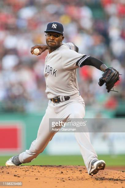 Domingo German of the New York Yankees pitches in the first inning against the Boston Red Sox at Fenway Park on July 28 2019 in Boston Massachusetts