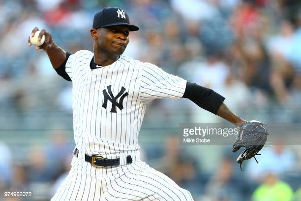 Domingo German of the New York Yankees pitches in the first inning against the Tampa Bay Rays at Yankee Stadium on June 14 2018 in the Bronx borough...