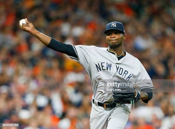 Domingo German of the New York Yankees pitches in the second inning against the Houston Astros at Minute Maid Park on May 1 2018 in Houston Texas