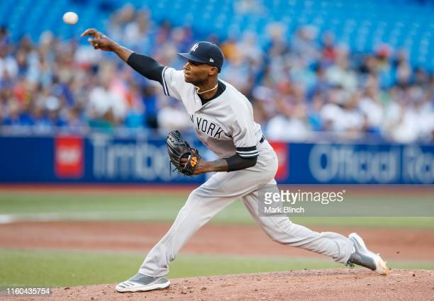 Domingo German of the New York Yankees pitches to the New York Yankees in the first inning at the Rogers Centre on August 8 2019 in Toronto Canada