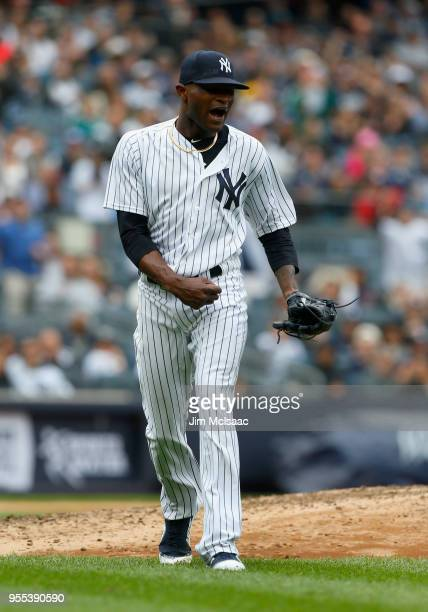 Domingo German of the New York Yankees reacts after a strikeout ended the sixth inning against the Cleveland Indians at Yankee Stadium on May 6 2018...
