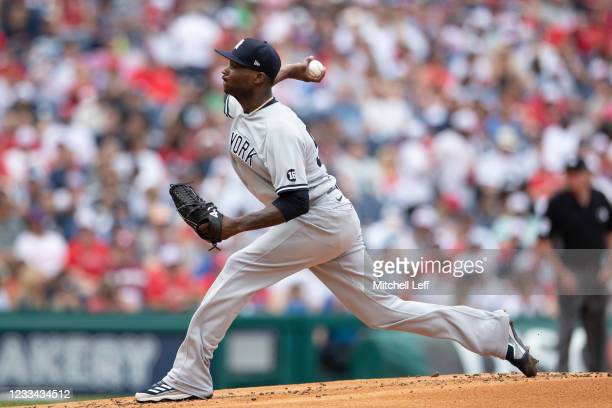 Domingo German of the New York Yankees throws a pitch in the bottom of the first inning against the Philadelphia Phillies at Citizens Bank Park on...