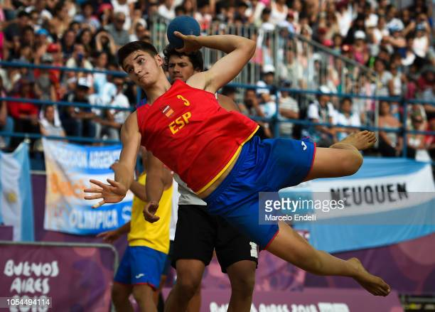 Domingo Jesus Luis Mosquera of Spain scores in the Men Gold Medal Match against Portugal during day 7 of Buenos Aires 2018 Youth Olympic Games at...