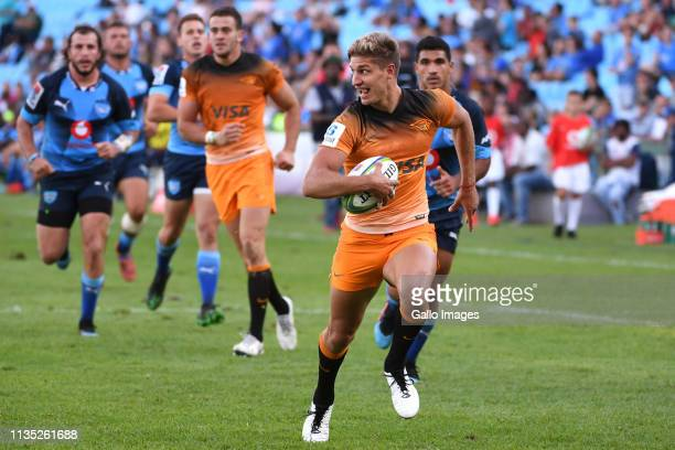 Domingo Miotti of the Jaguares on his way to score the winning try during the Super Rugby match between Vodacom Bulls and Jaguares at Loftus Versfeld...