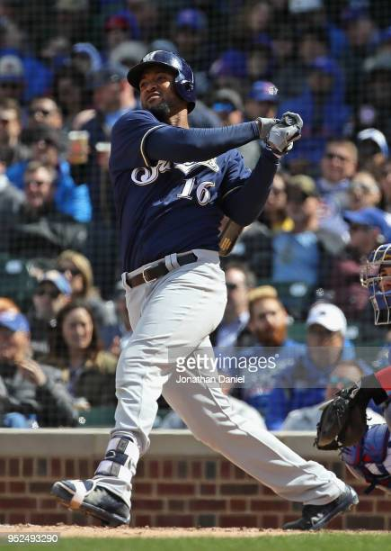 Domingo Santana of the Milwaukee Brewers bats against the Chicago Cubs at Wrigley Field on April 27 2018 in Chicago Illinois The Cubs defeated the...