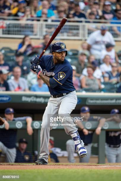 Domingo Santana of the Milwaukee Brewers bats against the Minnesota Twins on August 8 2017 at Target Field in Minneapolis Minnesota The Twins...