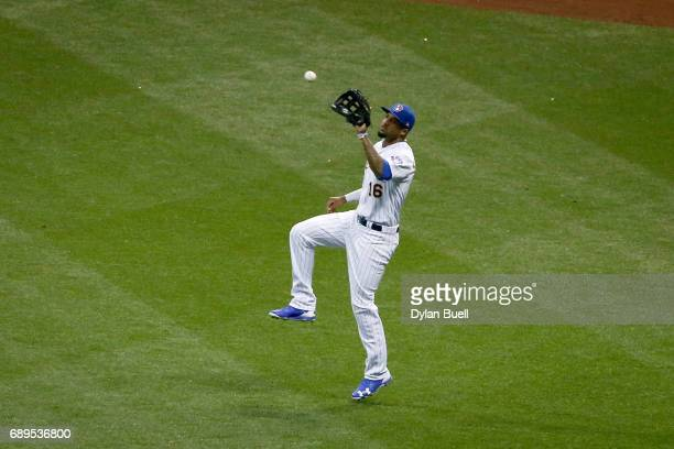 Domingo Santana of the Milwaukee Brewers catches a fly ball in the sixth inning against the Arizona Diamondbacks at Miller Park on May 26 2017 in...