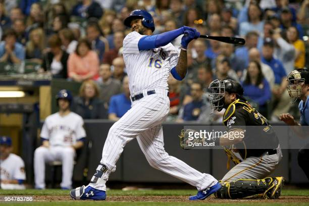 Domingo Santana of the Milwaukee Brewers hits a home run in the sixth inning against the Pittsburgh Pirates at Miller Park on May 4 2018 in Milwaukee...