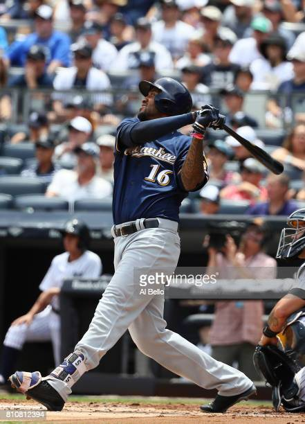 Domingo Santana of the Milwaukee Brewers hits a threee run home run against the New York Yankees in the first inning during their game at Yankee...