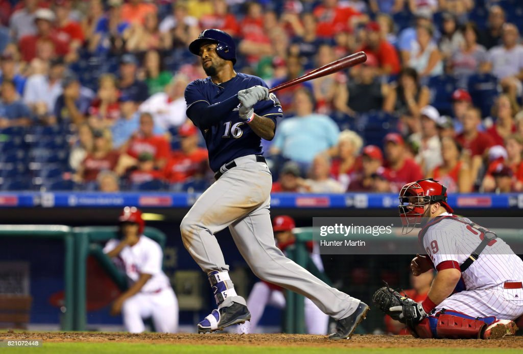 Domingo Santana #16 of the Milwaukee Brewers hits an RBI single in the ninth inning during a game against the Philadelphia Phillies at Citizens Bank Park on July 22, 2017 in Philadelphia, Pennsylvania. The Brewers won 9-8.