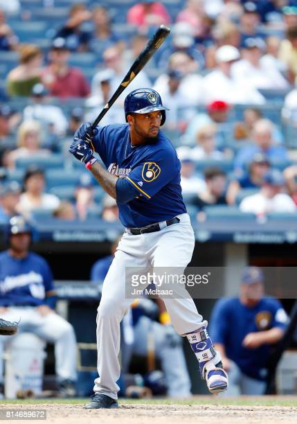 Domingo Santana of the Milwaukee Brewers in action against the New York Yankees at Yankee Stadium on July 9 2017 in the Bronx borough of New York...
