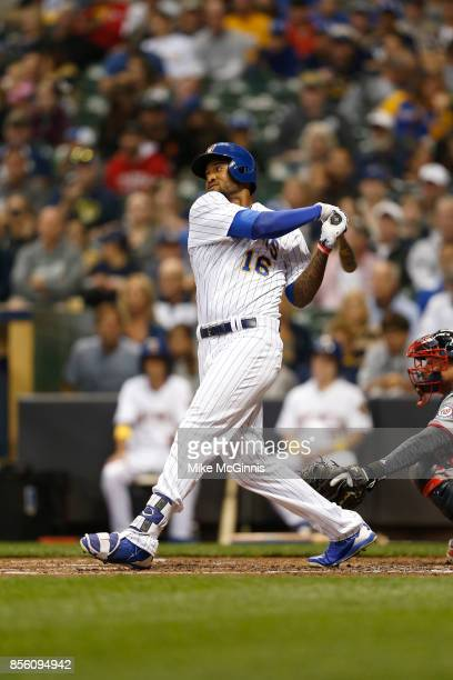 Domingo Santana of the Milwaukee Brewers makes some contact at the plate during the game against the Washington Nationals at Miller Park on September...