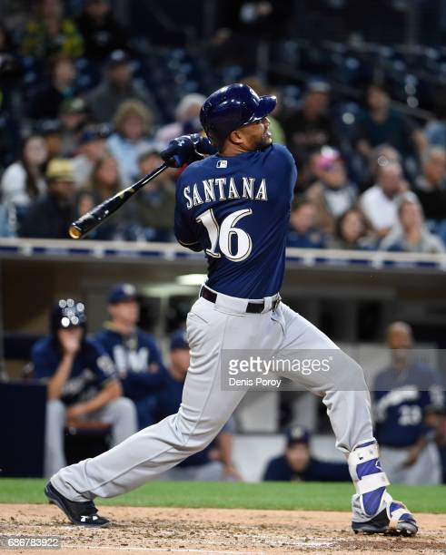 Domingo Santana of the Milwaukee Brewers plays during a baseball game against the San Diego Padres at PETCO Park on May 16 2017 in San Diego...