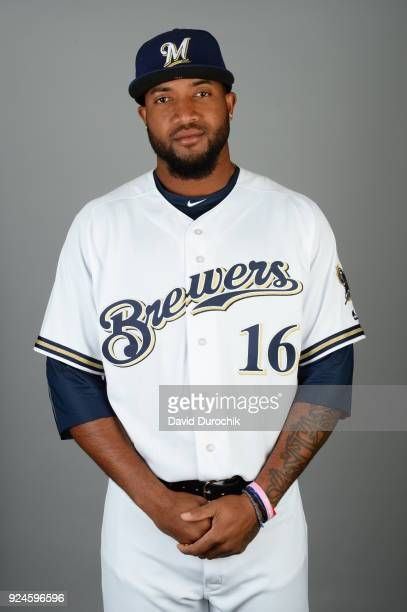 Domingo Santana of the Milwaukee Brewers poses during Photo Day on Thursday February 22 2018 at Maryvale Baseball Park in Phoenix Arizona