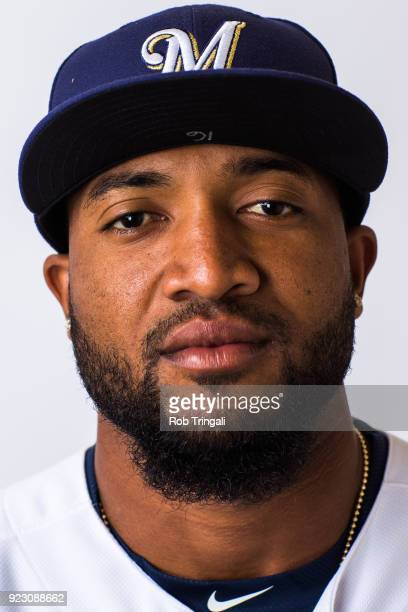 Domingo Santana of the Milwaukee Brewers poses for a portrait during Photo Day at the Milwaukee Brewers Spring Training Complex on February 22 2018...