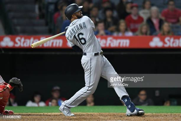 Domingo Santana of the Seattle Mariners at bat against the Los Angeles Angels of Anaheim in the ninth inning at Angel Stadium of Anaheim on April 18...