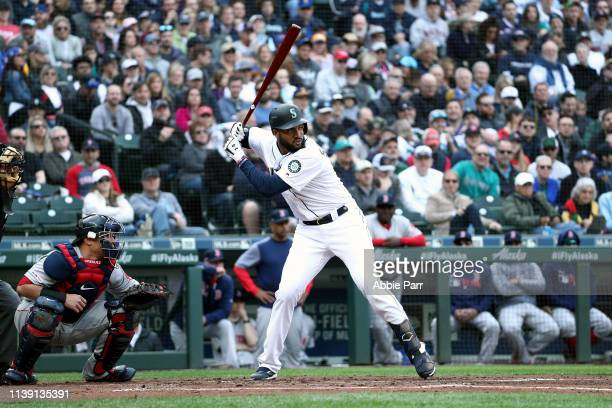 Domingo Santana of the Seattle Mariners at bat in the first inning against the Boston Red Sox during their Opening Day game at TMobile Park on March...