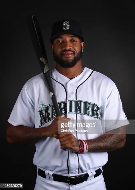 Domingo Santana of the Seattle Mariners poses for a portrait during photo day at Peoria Stadium on February 18 2019 in Peoria Arizona