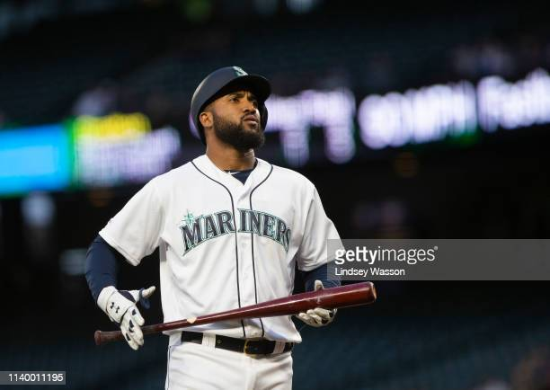Domingo Santana of the Seattle Mariners prepares for an atbat in the first inning against the Los Angeles Angels of Anaheim at TMobile Park on April...