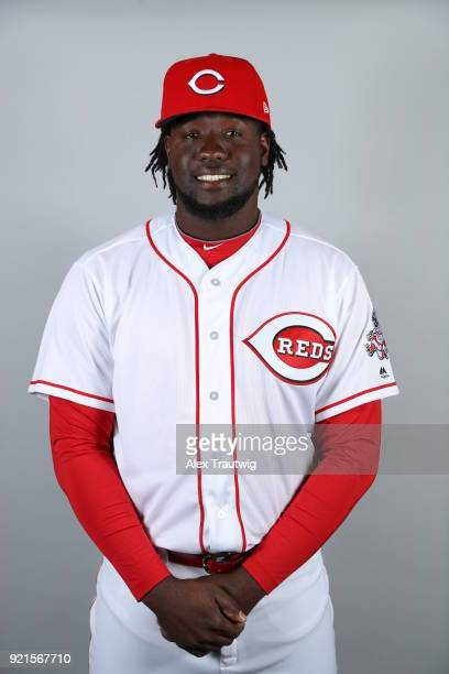 Domingo Tapia of the Cincinnati Reds poses during Photo Day on Tuesday February 20 2018 at Goodyear Ballpark in Goodyear Arizona