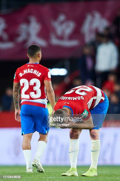 Domingos Duarte and Darwin Machis of Granada CF react after being defeated of the Copa del Rey semifinal 2nd leg match between Granada CF and...