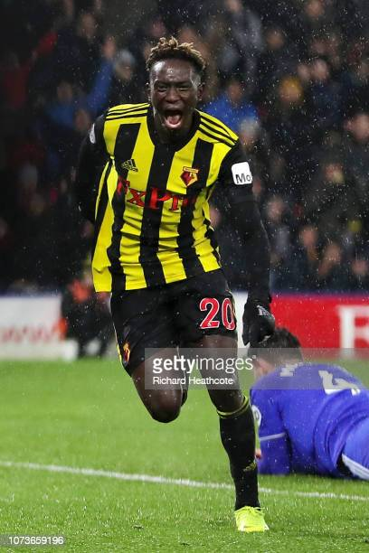 Domingos Quina of Watford celebrates after scoring his team's third goal during the Premier League match between Watford FC and Cardiff City at...