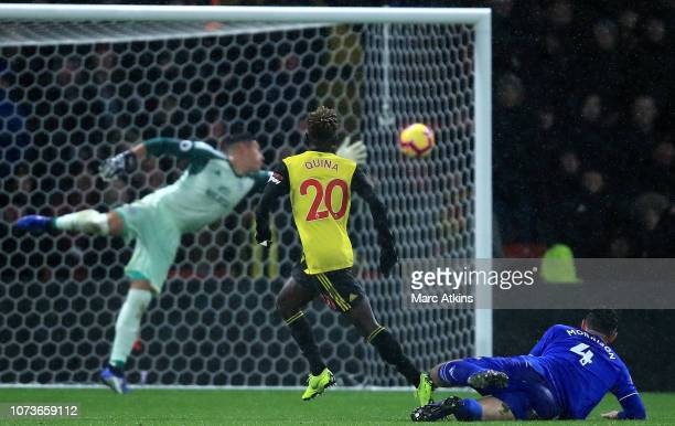 Domingos Quina of Watford scores his team's third goal during the Premier League match between Watford FC and Cardiff City at Vicarage Road on...