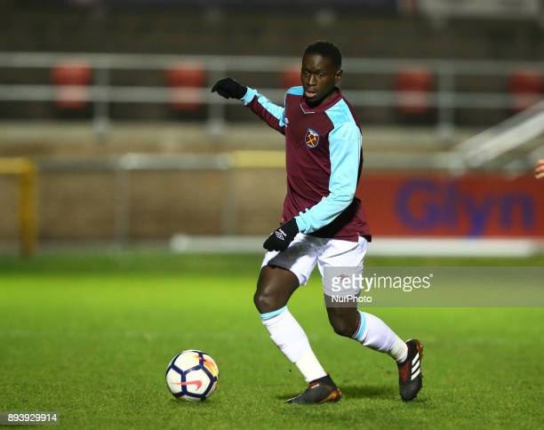 Domingos Quina of West Ham in action during FA Youth Cup 3rd Round match between West Ham United Under 18s and Blackpool Under 18s at Dagenham and...