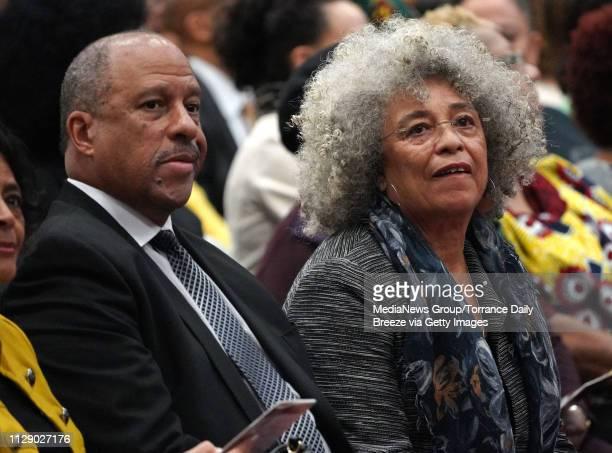 Dominguez Hills President Thomas Parham left sits next to Dr Angela Davis before her speech at CSUDH in Carson on Monday Feb 11 2019 Davis an...